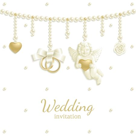 Wedding background with rings, pearls and other jewels Vector