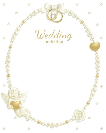wedding frame: Wedding background with jewels composing a frame for your text Illustration