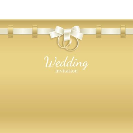bague de fiancaille: Mariage de fond d�cor� de ruban et anneaux Illustration