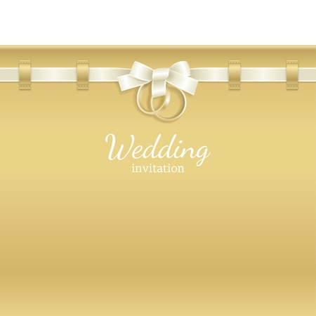 wedding card design: Wedding background decorated with ribbon and rings