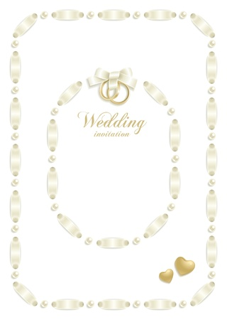 plait: Wedding backgrounds with ribbon making a frame for your text Illustration
