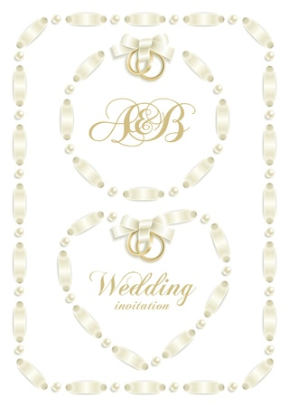Wedding backgrounds with ribbon making a frame for your text Stock Vector - 8976735