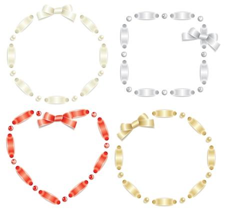 joyas de plata: Conjunto de marcos de cinta aisladas sobre fondo blanco