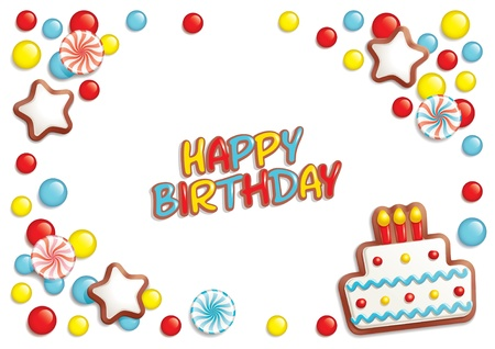 composing: Birthday background with sweets composing a frame for your text Illustration