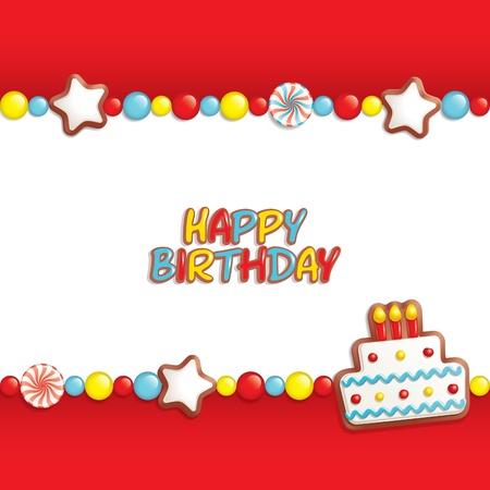 verjaardag frame: Verjaardag achtergrond met zoetigheden componeren een frame voor uw tekst