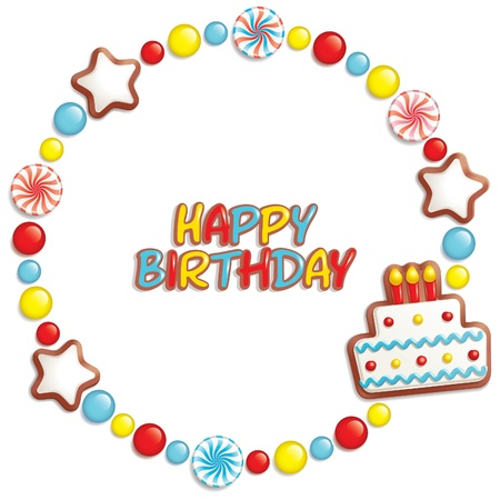 Birthday background with sweets composing a frame for your text Vector