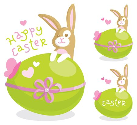 Easter greeting card with cute bunny and colored egg Vector