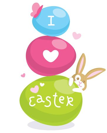 Easter card with cute bunny and colored eggs Stock Vector - 9160191