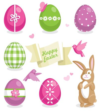 Easter set with colored eggs, cute bunny and other elements Vector