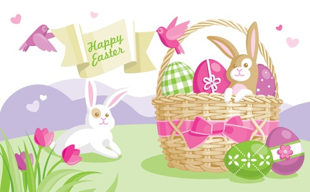 Easter illustration with colored eggs and cute bunnies on spring background Vector