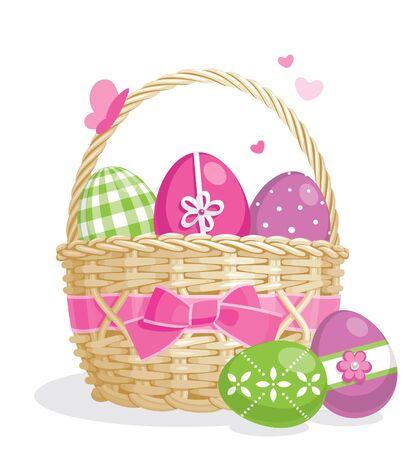 košík: Easter basket full of colored eggs. Isolated on white.