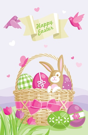colored eggs: Easter illustration with colored eggs, basket and cute bunny on spring background