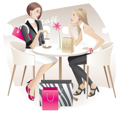shopper: Zwei junge Frauen mit Einkaufst�ten sprechen im Caf� Illustration