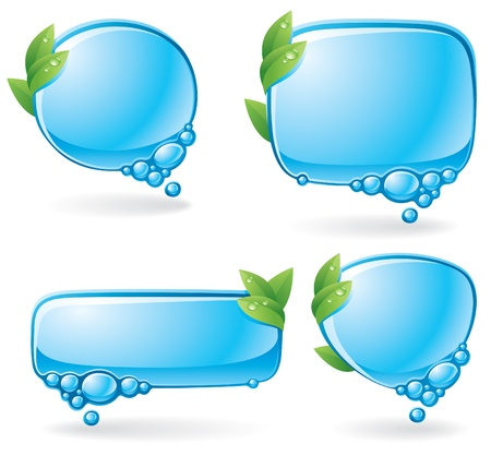 Set of speech bubbles formed from water and decorated with green leaves Vector