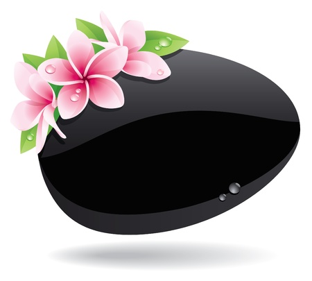 pink plumeria: Spa background of black pebble decorated with flowers
