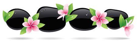stein schwarz: Spa Hintergrund mit schwarzen Kieseln mit Blumen verziert