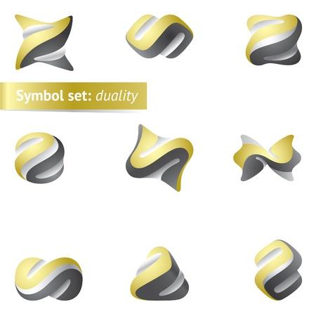 logotipo abstracto: Conjunto de s�mbolos de dualidad abstracta. Utilizada como icono o logotipo de mayo