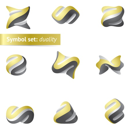 creativity logo: Set of abstract duality symbols. May used as icon or logo Illustration