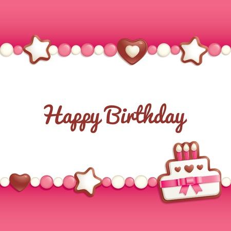 auguri di buon compleanno: Background del compleanno con dolci rendendo una cornice per il saluto di testo