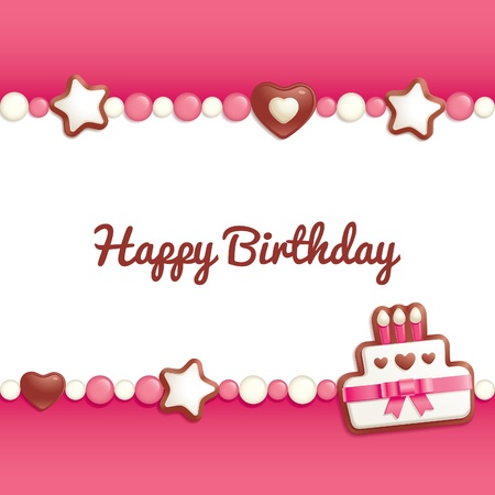 happy birthday cake: Fondo de cumplea�os con dulces que un marco de texto de felicitaci�n Vectores
