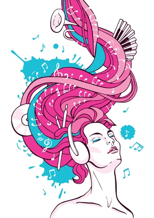 fantasy illustration of dreaming woman listening music with headphones  Vector