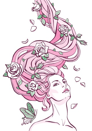 animal hair: fantasy portrait of a woman with roses in her long hair Illustration