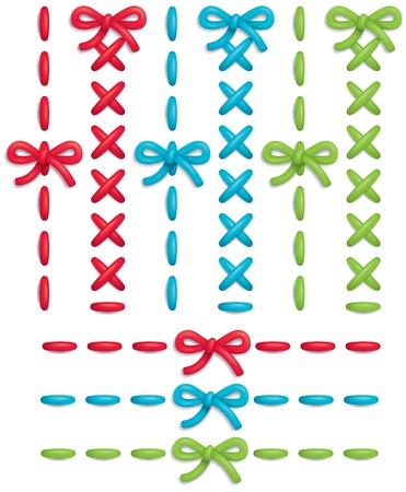 punto cruz: Conjunto de los puntos de vector colorido y arcos Vectores