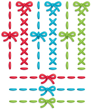 green bow: Set of colorful vector stitches and bows