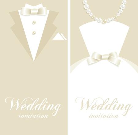 Arrière-plans de mariage avec tuxedo et silhouettes de robe de mariée Vecteurs