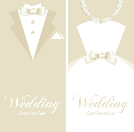 wedding dress: Wedding backgrounds with tuxedo and bridal dress silhouettes Illustration
