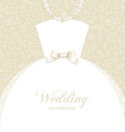bridal dress: Sfondo di nozze con il vestito da sposa silhouette ed elementi decorativi