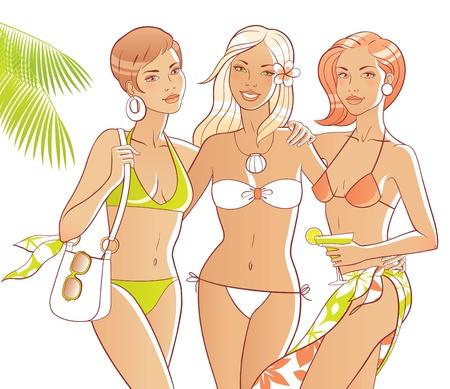 Drie gebruinde vrouwen op het strand. Lichamen en accessoires zijn te scheiden.
