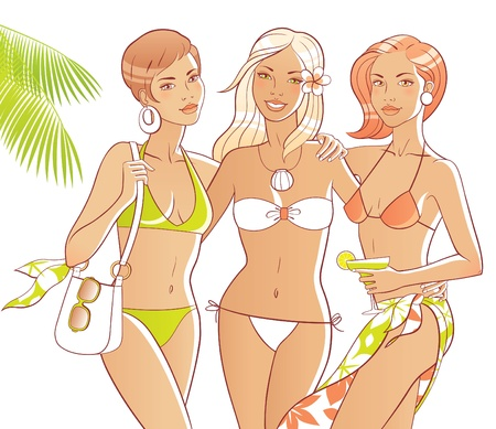 bikini model: Three tanned women on the beach. Bodies and accessories are separate. Illustration