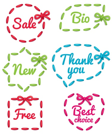 embroidered: Set of embroidered selling tags isolated on white background