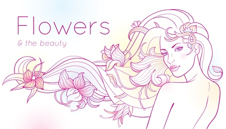 separate: Fantasy portrait of a woman with flowers in her long hair. Flowers and hair are separate. Illustration
