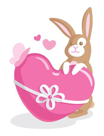 Baby greeting card with cute bunny holding a big heart Vector