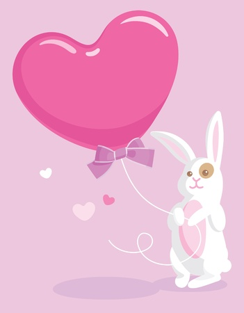Greeting card with cute white rabbit holding a big heart-shaped balloon Vector