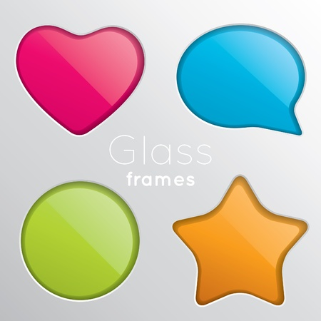 Set of four colored frames of glass Stock Vector - 9812642