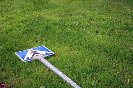 Crosswalk the lawn Stock Photo