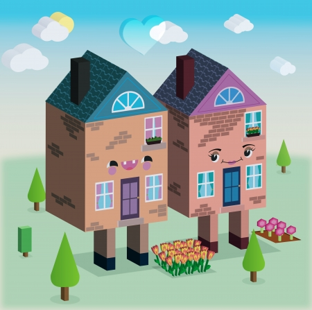 Houses in love 3D graphic with trees, flowers, clouds and sunfunny picture photo