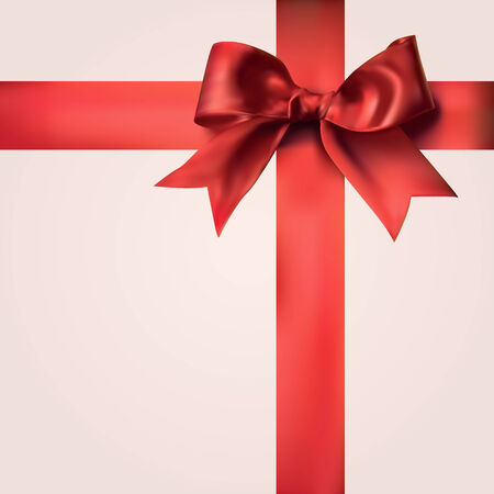Realistic decorative  red gift ribbons with bow