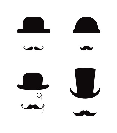Moustaches and  hats, gentleman set Stock Photo