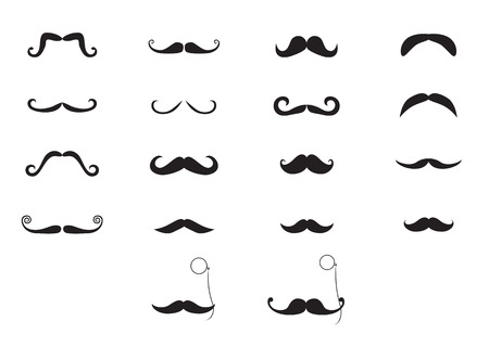 rimless: Elegant mustache and pince-nez icon set Stock Photo