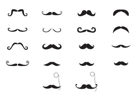 rimless: Elegant mustache and pince-nez icon set Stock Photo