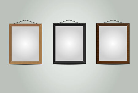 Wooden hanging frames textured  photo