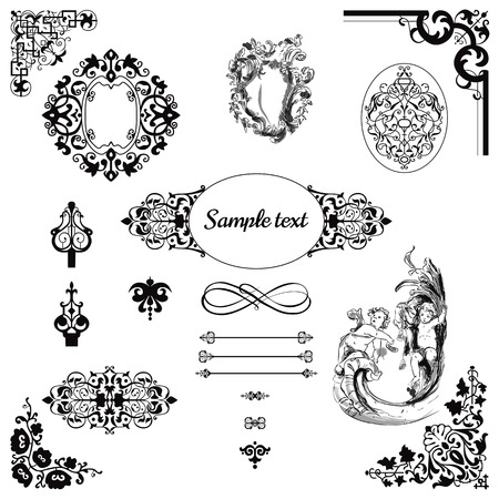 black swirls: Vintage pattern and  frame set graphic in baroque style
