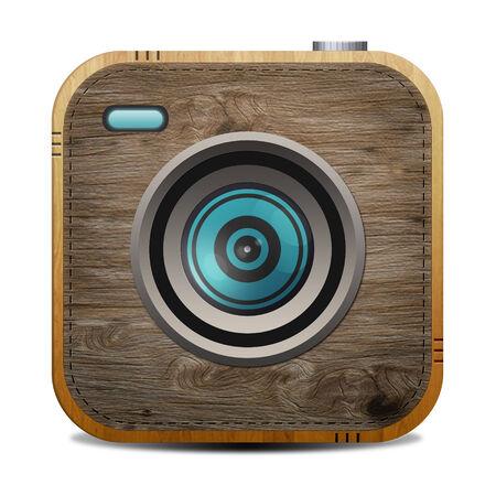 Vintage  wood textured  camera photo