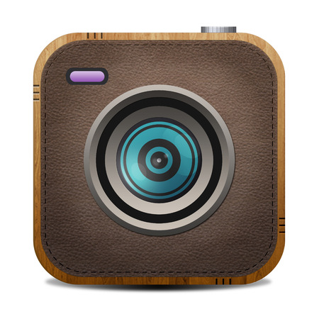 xxl icon: Vintage leather and wood textured  camera