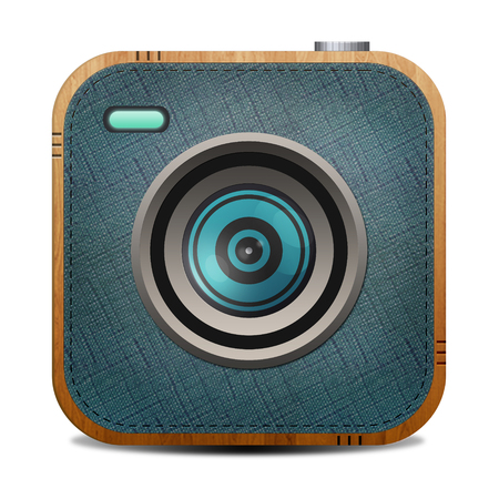 Vintage fabric and wood textured  camera photo