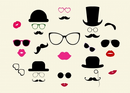 Hats, Moustaches, Eyeglasses, Lips Vector Icon Set Vector